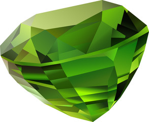 Shiny green faceted chrysolite on white background