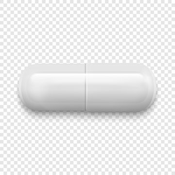 Vector realistic 3d white medical pill icon isolated on transparency grid background. Design template for graphics. Top view