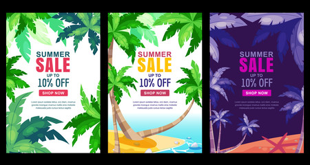 Summer sale vertical banner set. Vector season poster template. Tropical backgrounds with green palm leaves frame