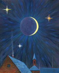 Moonlight night over the village. Big stars. Roofs of houses. Church in the background. Oil painting.