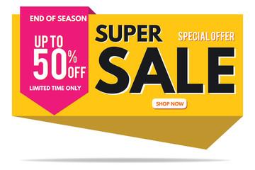 Super Sale Banner Template. Sale Banner Design. Abstract Sale Banner.