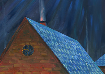 Moonlight night over the village. Roof of house. From the chimney goes smoke. Oil painting.