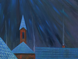 Moonlight night over the village. Roofs of houses. Church in the background. Oil painting.