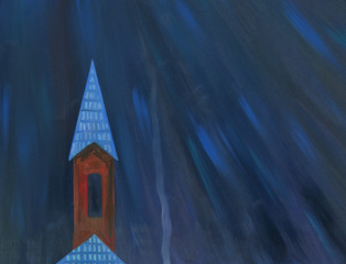 Moonlight night over the village. The tower of the church. Oil painting.