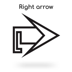 Right arrow icon vector sign and symbol isolated on white background, Right arrow logo concept