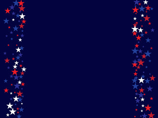 4th of July Independence Day American Stars Falling Confetti Vector Background. Red, Blue White Stars Border Patriotic Background. US, American Independence Day Banner, 4th of July Patriotic Bokeh.