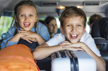 Family going on a holiday by car