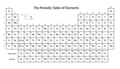 Periodic table of elements. Black and white colors