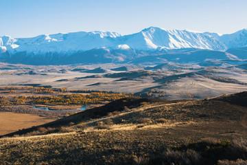 Panoramic of the Altai-Chuya ridge, Altai Mountain, West Siberia, Russia.