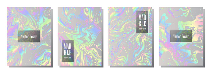 Holographic paper magic foil marble vector pattern. Fashion magazine cover background with rainbow spectrum metallic gradient hologram. Silver holographic foil paper pattern  marble design.