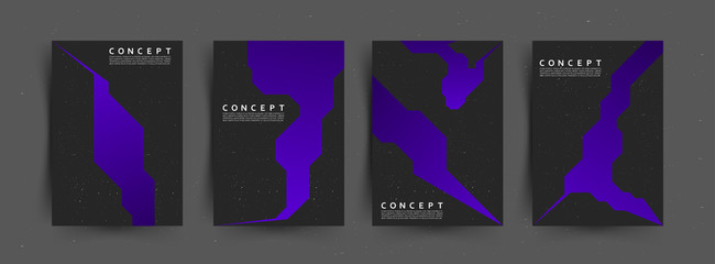 Indigo color futuristic design. Ultraviolet geometric posters collection layout. Vector illustration.