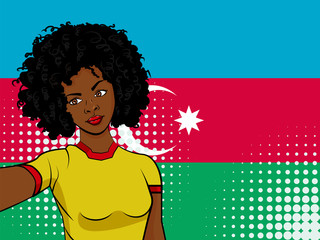 african american girl makes selfie in front of national flag Azerbaijan in pop art style illustration. Element of sport fan illustration for mobile and web apps on national flag background