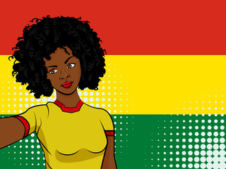 african american girl makes selfie in front of national flag Bolivia in pop art style illustration. Element of sport fan illustration for mobile and web apps