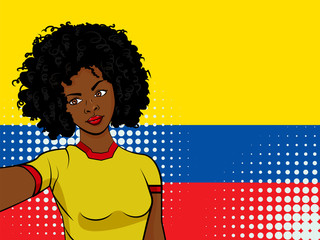 african american girl makes selfie in front of national flag Ecuador in pop art style illustration. Element of sport fan illustration for mobile and web apps