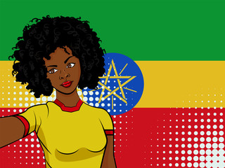 african american girl makes selfie in front of national flag Ethiopia in pop art style illustration. Element of sport fan illustration for mobile and web apps