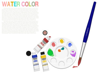 Composition of water  color equipment  on transparent background