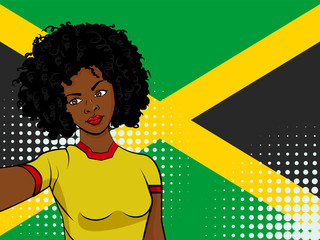 african american girl makes selfie in front of national flag Jamaica in pop art style illustration. Element of sport fan illustration for mobile and web apps