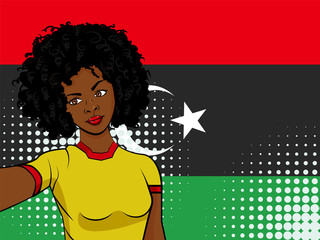 african american girl makes selfie in front of national flag Libya in pop art style illustration. Element of sport fan illustration for mobile and web apps