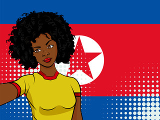 african american girl makes selfie in front of national flag North Korea in pop art style illustration. Element of sport fan illustration for mobile and web apps