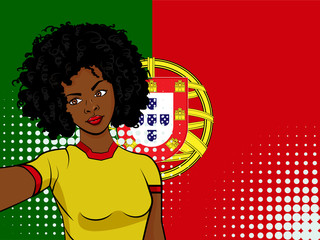 african american girl makes selfie in front of national flag Portugal in pop art style illustration. Element of sport fan illustration for mobile and web apps
