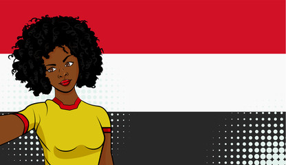 african american girl makes selfie in front of national flag Yemen in pop art style illustration. Element of sport fan illustration for mobile and web apps