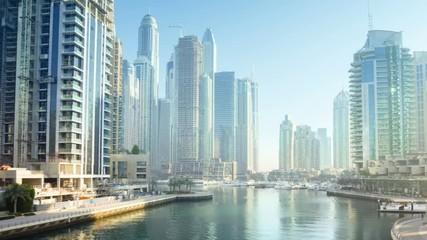Fotomurales - morning hyperlapse, Dubai Marina, UAE