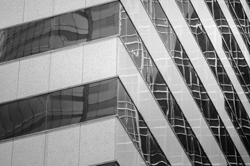 Bottom up view of Modern office building in Hong Kong in B&W color