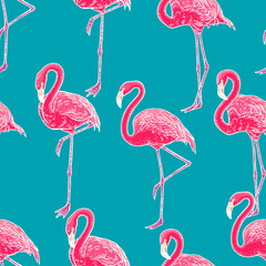 cute seamless flamingo