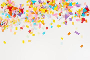 Multi-colored confetti from paper