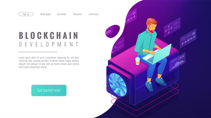 Isometric blockchain development landing page concept. Blockchain developer with laptop, coding, global cryptocurrency illustration on ultraviolet background. Vector 3d isometric illustration