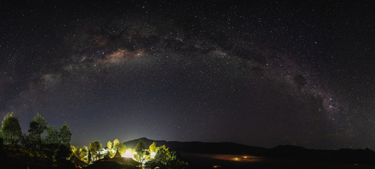 Panoramic milky way and starry sky at night in Semeru National Park, Indonesia