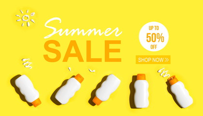 Summer sale with sunscreen bottles arranged on a bright yellow background