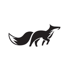 elegant walking fox art logo