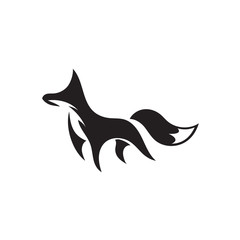 simple elegant walking fox art logo