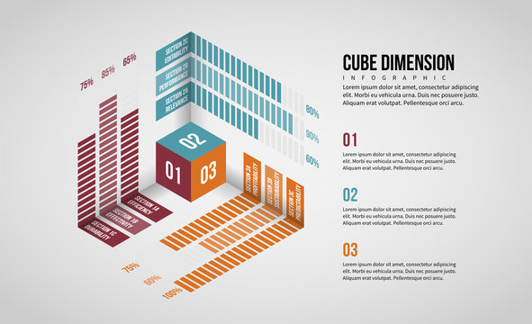 Isometric Cube Dimension Infographic