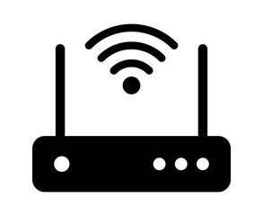 Internet service wireless router / modem with wifi signal flat vector icon for apps and websites