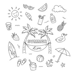 Summer time doodle artwork with beach holiday elements. Hand drawn illustration.