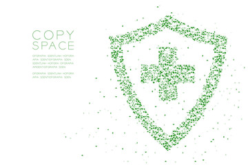 Abstract Geometric Low polygon square box pixel and Triangle pattern Medical shield with cross sign shape, protection concept design green color illustration on white background with copy space