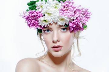 girl in a flower wreath
