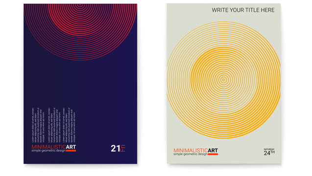 Set of posters with simple shape in bauhaus style. Cover design with modern geometric minimalistic art. Modern digital art with halftone patterns. Memphis and hipster style graphic