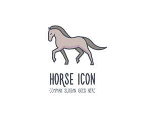 Cute elegant and proud horse marching gloriously. Vector animal doodle logo illustration