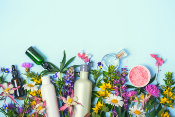 Natural Cosmetics set. Organic products and wild herbs and flowers Fototapete