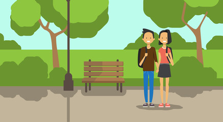 teenager african boy girl couple in love, full length avatar over city park wooden bench street lamp green lawn trees template background flat vector illustration