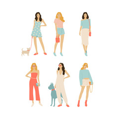 Girls standing on a street. Street fashion vector illustration, set of young women and dogs.