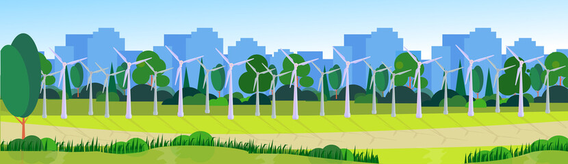 city park clean energy wind turbines green lawn trees on city buildings template background banner flat vector illustration
