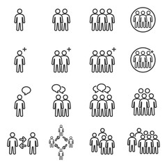People Icons Line , Person work group Team Vector