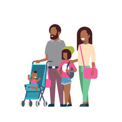 african father mother daughter baby son in stroller full length avatar on white background, successful family concept, flat cartoon vector illustration