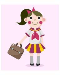 cute little kids school girls cartoon character