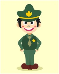 cute little police officer kids cartoon character