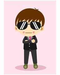 cute little bodyguard kids cartoon character